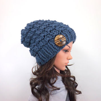 Knit Chunky Slouchy Buttoned Hat Beanie Toque // The Barletta // in Denim