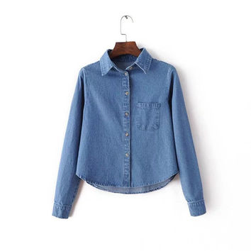 Short Casual Denim Shirts Cotton Women Denim Blouse Long Sleeve Lapel Fashion Shirt Jeans Style C2435