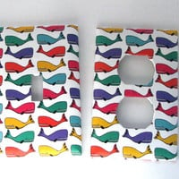 Light Switch Outlet Cover Set - Light Switch Plate Rainbow Whales