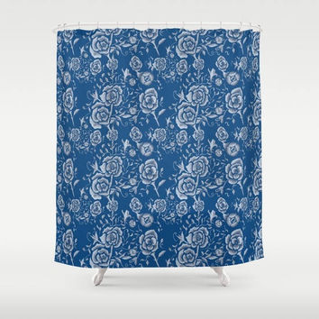 "Blue and white Floral Shower Curtain -  ""Denim and Roses""  -  unique, blue and white, art for the bathroom,  decor, home, fine art, casual"