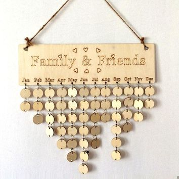 Wooden Anniversary Calendar Board DIY Family Friends Birthday Calendar Sign Special Dates Hanging