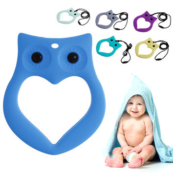 Cute Baby Kids Silicone Owl Teething Pacifier Pendant Teeth Toy Soother Teether