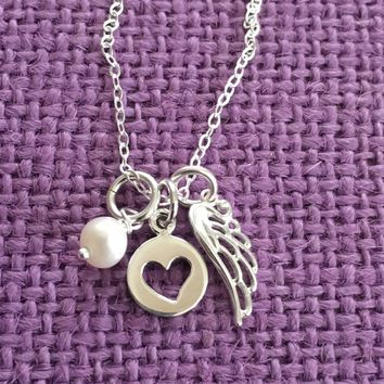 Memorial Jewelry - Remembrance - Angel Wing Necklace - Guardian Angel Necklace - Delicate Jewelry - Tiny Charm Pendant Necklace - sterling