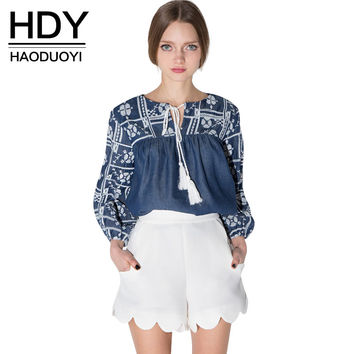 HDY Haoduoyi 2017 Autumn Fashion Womens Bohemia Blue Pattern Long Sleeve Drawstring Top Shirts Loose Denim Tie Front  Blouses