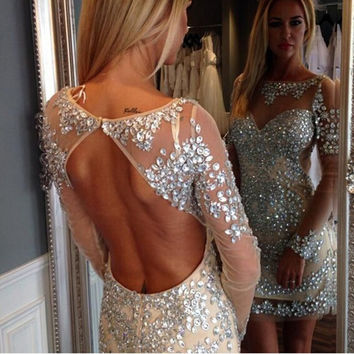 Sexy Champagne Lined Backless Rhinestones Cocktial Dresses 2017 Long Sleeves Short Party Dress Cocktail Gown Robe De Cocktail C2