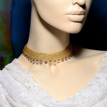 Dainty Lacy Necklace, Wire Crochet Bridal Necklace, adjustable Gold Choker with Venetian Beads Valentines gift