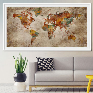World Map Art Print, Large Wall Art World Map Art, Extra Large World Map Print, Wall Decoration, Wall Art Print, World Map Poster  (L11)