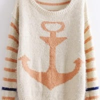 Stripes & Anchor Print Sweater