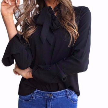 Women's Black Chiffon Bell Sleeve Blouse with Front Tie