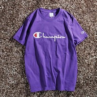 Champion Woman Men Fashion Short Sleeve Tunic Shirt Top Blouse