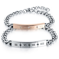 Shiny Awesome Hot Sale New Arrival Stylish Great Deal Gift Titanium Couple Simple Design Roman Bracelet [9509266500]