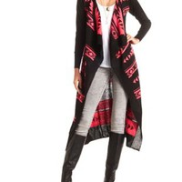 Aztec Cascade Duster Cardigan Sweater