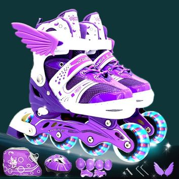 Roller Skating Shoes A Set Children Kid Inline Skate With Helmet Knee Protector Gear Bag Adjustable Flashing Wheels Patines IA97
