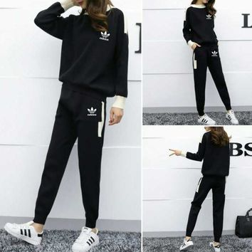 """Adidas"" Women Simple Casual Letter Multicolor Knit Long Sleeve Trousers Set Two-Piece Sportswear"