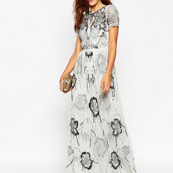 ASOS SALON All Over Embellished Maxi Dress at asos.com