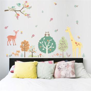 Jungle Wild Animals Owls Giraffe Tree wall stickers for kids room Children Wall Decal Nursery Bedroom Decor Poster Mural