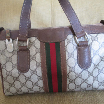 Vintage Gucci brown signature leather and canvas satchel bag speedy with stripes
