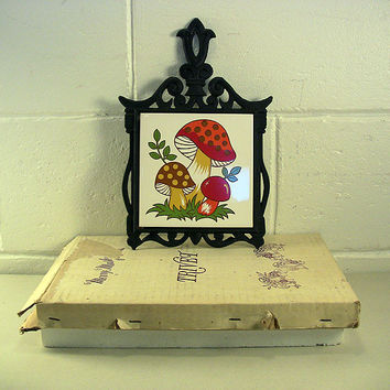 Vintage Cast Iron Trivet Ceramic Mushroom Tile Retro