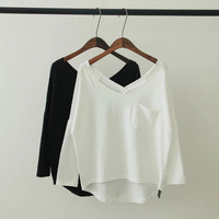 V-Neck Long-Sleeve Asymmetrical Pocket Shirt