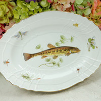 Richard Ginori Porcelain Serving Platter Scalloped Fish Sealife Insects Quenelle
