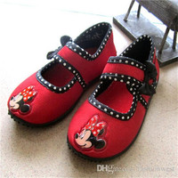 Cloth Shoes Hot Girls Spring and Autumn Cute Mickey Printing and Comfortable Shoes Fashion Children Red Buckle and Breathable Shoes