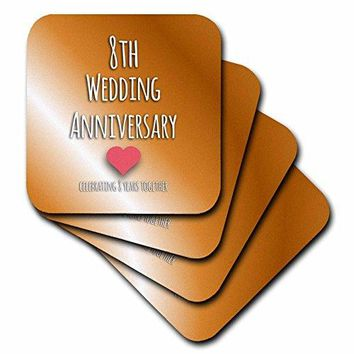 3dRose cst1544391 8th Wedding Anniversary Gift Bronze Celebrating 8 Years Together Eighth Anniversaries Eight Yrs Soft Coasters Set of 4