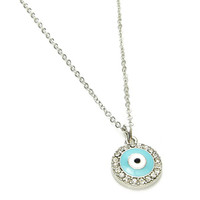 Round Evil Eye Necklace--Gold or Silver