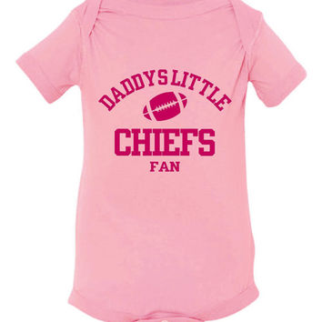 DADDYS LITTLE CHIEFS Fan Girls Pink Toddler Shirt Or Creeper Kansas City Chiefs Fan Football Tshirts