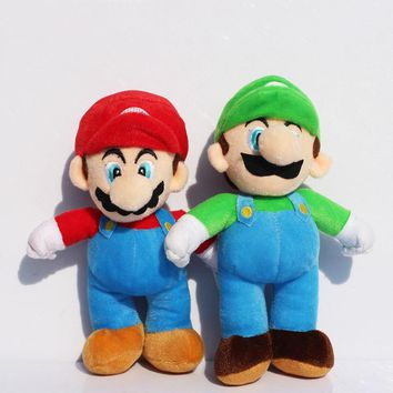 1Pcs 25cm Super Mario Stand style MARIO LUIGI Plush Doll Stuffed Toy Free Shipping