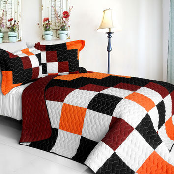 Plaid Brand New Vermicelli Quilted Patchwork Quilt Set Full/Queen