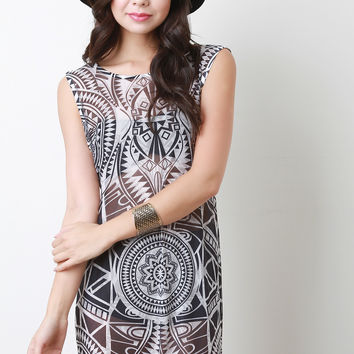 Tribal Semi-Sheer Mesh Sleeveless Mini Dress