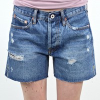 Button Front Distressed Girlfriend Cutoff Shorts {M. Denim}