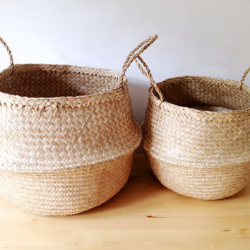 Beautiful Sea Grass Belly Basket Panier Boule Storage Nursery Beach Picnic Toy Laundry