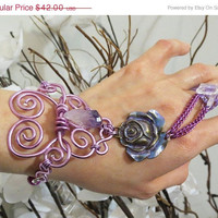 CHRISTMAS SALE Purple Rose Crystal Slave Bracelet Ring. Wire wrapped in purple. Purple Rose Flower, Amethyst and Quartz Crystal.