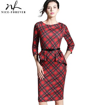 Nice-forever Spring Lady Vintage Tartan Red New Year Fitted Dress O Neck 3/4 Sleeve Belt Peplum Casual Zipper Pencil Dress B267