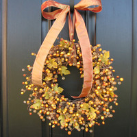 Fall Home Decor Golden Berry Wreath by twoinspireyou on Etsy