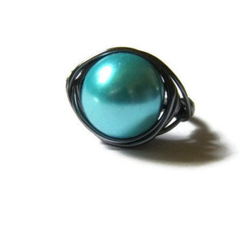 Turquoise blue pearl and gray wire wrapped ring for Spring gift for her
