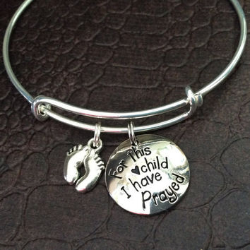 For This Child I Have Prayed with Baby Feet Expandable Charm Bracelet Adjustable Bangle Gift Meaningful