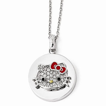 Sterling Silver Gold-Tone Hello Kitty Crystal, Enamel Necklac Necklace