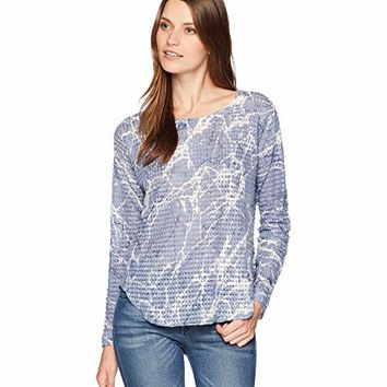 Nally & Millie Long Sleeve Marble Print Waffle Top