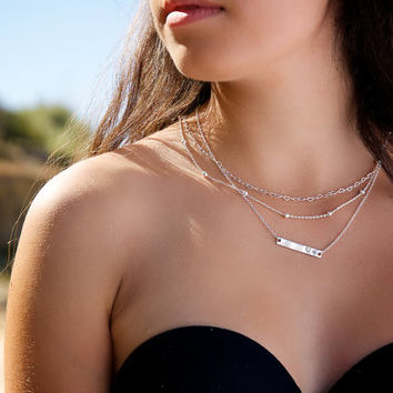 Perfect Layering Necklace - Tiny Hearts Necklace - Mom Necklace - Sterling Silver Necklace - Minimalist Necklace - Perfect Gift - Gift idea