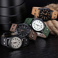 Fashion 2018  Vintage Classic Men's Waterproof Date Leather Strap Sport Quartz Army Watch Wristwatch Clock Gift Retro Design #20