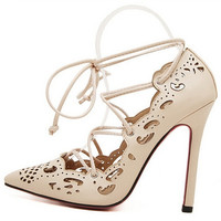 Plus Size Shoes Women Heels  Sexy Women Shoes Lace up High heels Ladies Pointed Toe  Dress Shoes = 1958396420
