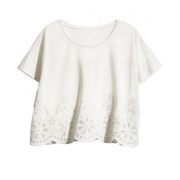 White T-Shirt with Cutwork Details