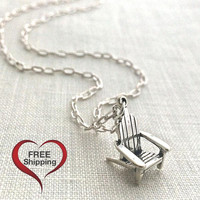 Retirement Gift, Beach Necklace, Sterling Silver Nature Necklace, Anniversary Gift Jewelry, Adirondack Chair, 619