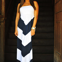 Get To The Point Maxi Dress: Navy | Hope's
