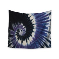 """Purple Tie Dye"" Purple Black White Swirl Trendy Boho Wall Tapestry"