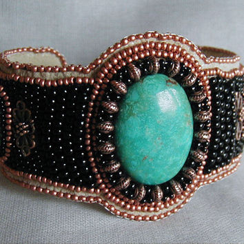 Turquoise and Copper Bead Embroidered Cuff Bracelet OOAK
