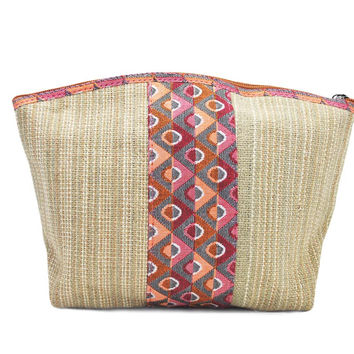 Mato Natural Eco-Friendly Travel Toiletry Cosmetic Makeup Hemp Bag Kit Carry Case with Dhaka Pattern