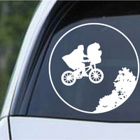 E.T. Elliot and Moon Funny Die Cut Vinyl Decal Sticker